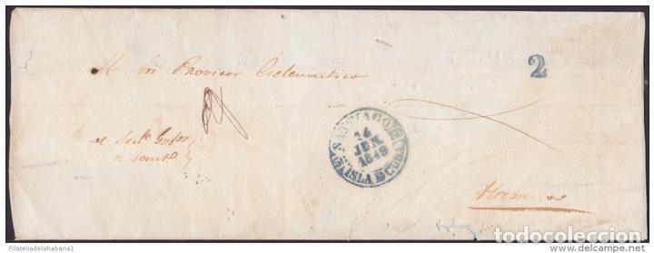 Sellos: PREFI-481 CUBA SPAIN ESPAÑA. (LG-711). PREFILATELIA STAMPLESS. 1849. PLICA BAEZA SANTIAGO DE LAS VEG - Foto 3 - 148461000