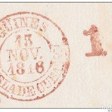 Sellos: PREFI-484 CUBA SPAIN ESPAÑA. (LG-714). PREFILATELIA STAMPLESS. 1848. PLICA BAEZA GUINES EN ROJO.. Lote 148461008