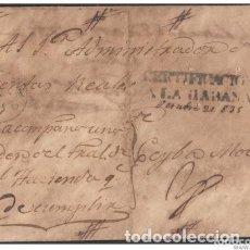 Sellos: PREFI-277 CUBA ESPAÑA SPAIN. PREFILATELIA.1835. STAMPLESS. SOBRE CERTIFICADO. CERTIFICACION A LA HAB. Lote 148460354