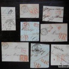 Sellos: PREFILATELIA 18 FRAGMENTOS DE FRONTALES DE CARTA MARCAS FRANCIA FRONTERA PORTEOS. Lote 148867813