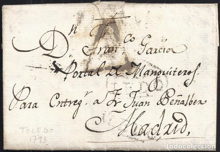 1793. TOLEDO A MADRID. MARCA TO/LEDO RECERCADA CÍRCULO. PORTEO 4 CUARTOS. LLEGADA. MUY INTERESANTE. (Filatelia - Sellos - Prefilatelia)