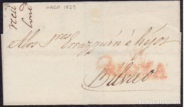 1829. HARO A BILBAO. ENVUELTA. (Filatelia - Sellos - Prefilatelia)