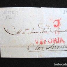 Selos: AÑO 1824. PREFILATELIA. CARTA PREFILATÉLICA. VITORIA-SAN SEBASTIÁN. . Lote 154095562