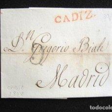 Sellos: AÑO 1818 . PREFILATELIA. CARTA PREFILATÉLICA. CÁDIZ-MADRID. . Lote 154100694