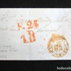 Sellos: AÑO 1850. PREFILATELIA. CARTA PREFILATÉLICA. CIUDAD REAL. SOLANA. MADRID. . Lote 154101730
