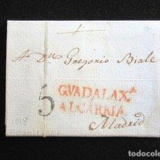 Sellos: AÑO 1818. PREFILATELIA. CARTA PREFILATÉLICA. GUADALAJARA- MADRID. . Lote 154105118