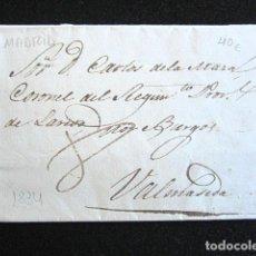 Sellos: AÑO 1834. PREFILATELIA. CARTA PREFILATÉLICA. VALMASEDA. VIZCAYA. MADRID. . Lote 154592926