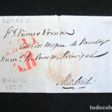 Sellos: AÑO 1850. PREFILATELIA. CARTA PREFILATÉLICA. MADRID. GETAFE. . Lote 154593702