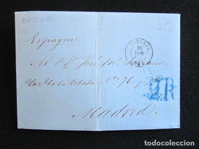 AÑO 1854. PREFILATELIA. CARTA PREFILATÉLICA. MADRID. BAYONA. (Filatelia - Sellos - Prefilatelia)