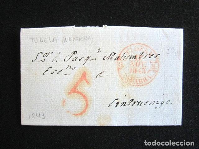 AÑO 1843 . PREFILATELIA. CARTA PREFILATÉLICA. NAVARRA. CINTRUENIGO. TUDELA. (Filatelia - Sellos - Prefilatelia)