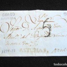 Sellos: AÑO 1814-22. PREFILATELIA. SOBRE PREFILATÉLICO. GRADO. ASTURIAS. OVIEDO. . Lote 154596790
