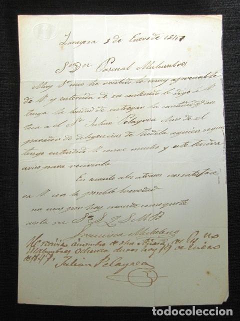 Sellos: AÑO 1847. PREFILATELIA. CARTA PREFILATÉLICA. ZARAGOZA. NAVARRA. CINTRUÉNIGO. TUDELA. - Foto 3 - 154614862