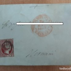 Sellos: CARTA. CORRESPONDENCIA DE PAMPLONA A HERNANI. 1853. PAIS VASCO. Lote 160988078