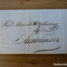 Sellos: CARTA PREFILATELICA 1833 DE MADRID A SANTANDER PORTEO 7 EN NEGRO. Lote 165902782