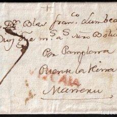 Selos: 1807. SAN SEBASTIÁN A MAÑERU. MARCA LINEAL VIZCAYA ROJO. PORTEO MNS. 7 CUARTOS. BONITA.. Lote 166872752