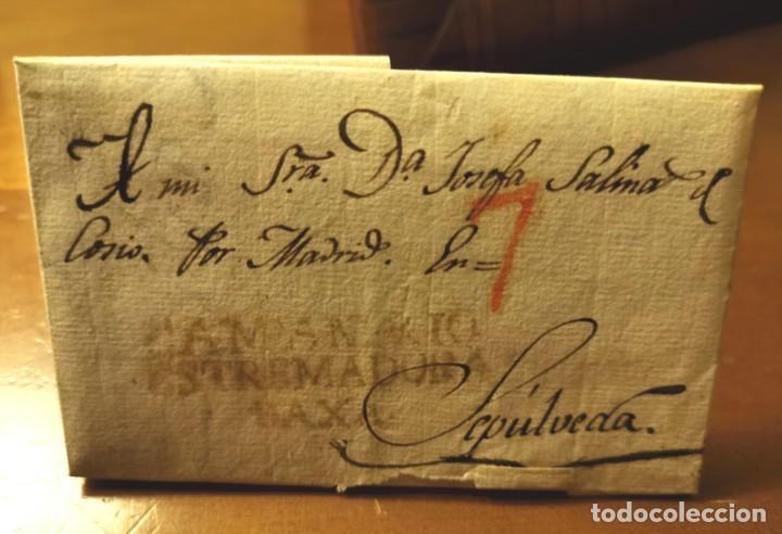 1834, CARTA PREFILATELICA DE CAMPANARIO, BADAJOZ, A SEPULVEDA (Filatelia - Sellos - Prefilatelia)