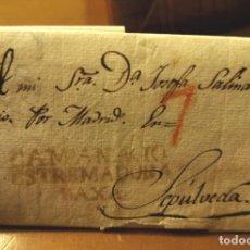 Sellos: 1834, CARTA PREFILATELICA DE CAMPANARIO, BADAJOZ, A SEPULVEDA. Lote 169687676