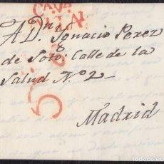 Selos: DP14. 1832. VALLADOLID A MADRID. MARCA CA.VA./VALLADD Nº 21 EN ROJO. CARTA COMPLETA.. Lote 170048212