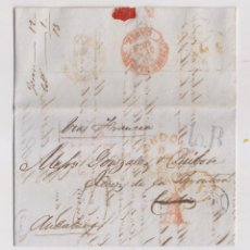 Selos: PREFILATELIA. CARTA ENTERA CON RARA MARCA DE ABONO. LONDRES A JEREZ DE LA FRONTERA. CÁDIZ. 1850. Lote 170355740