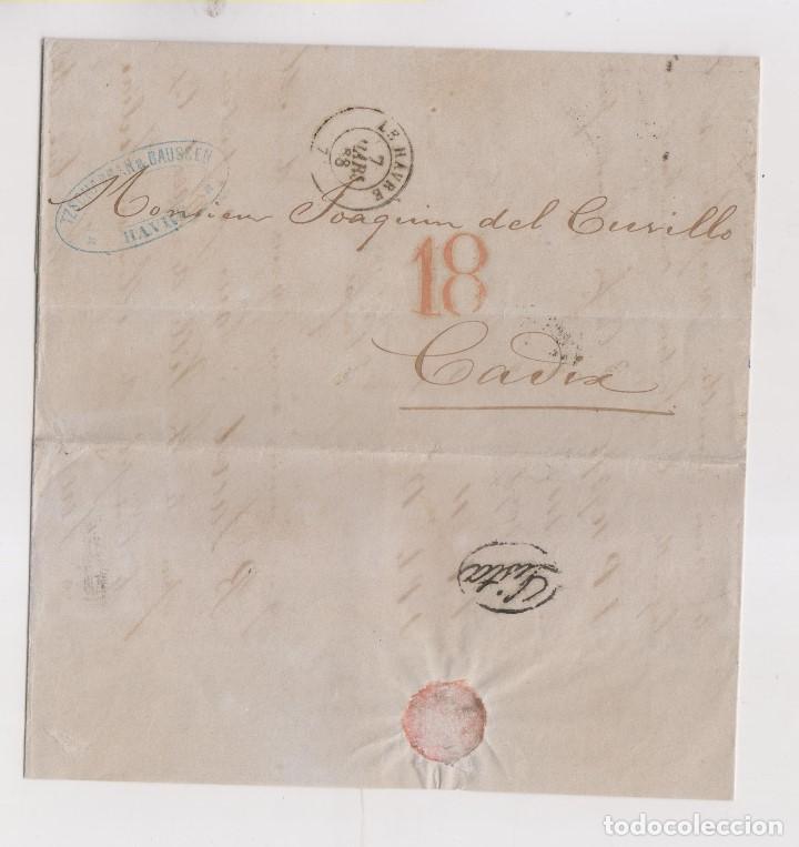 MUY RARA CARTA DE LE HAVRE A CÁDIZ. LISTA AL DORSO. 1868. LUJO (Filatelia - Sellos - Prefilatelia)