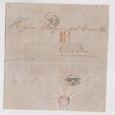 Sellos: MUY RARA CARTA DE LE HAVRE A CÁDIZ. LISTA AL DORSO. 1868. LUJO. Lote 170356288