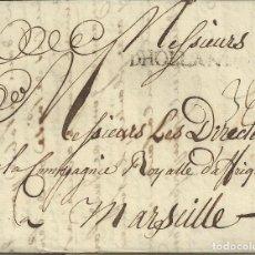 Sellos: ANSTERDAM A MARSELLA, 18 OCT 1745. DIRIGIDO AL DIRECTOR DE LA COMPAÑIA REAL DE AFRICA. Lote 170826905