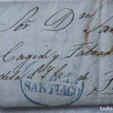 Sellos: CARTA MATASELLOS AZUL SANTIAGO CON 6 ROJO 1837. Lote 171125308