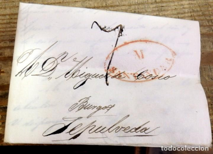 PREFILATELIA, CARTA COMPLETA CIRCULADA ENTRE SANTANDER Y SEPULVEDA, 1834 (Filatelia - Sellos - Prefilatelia)