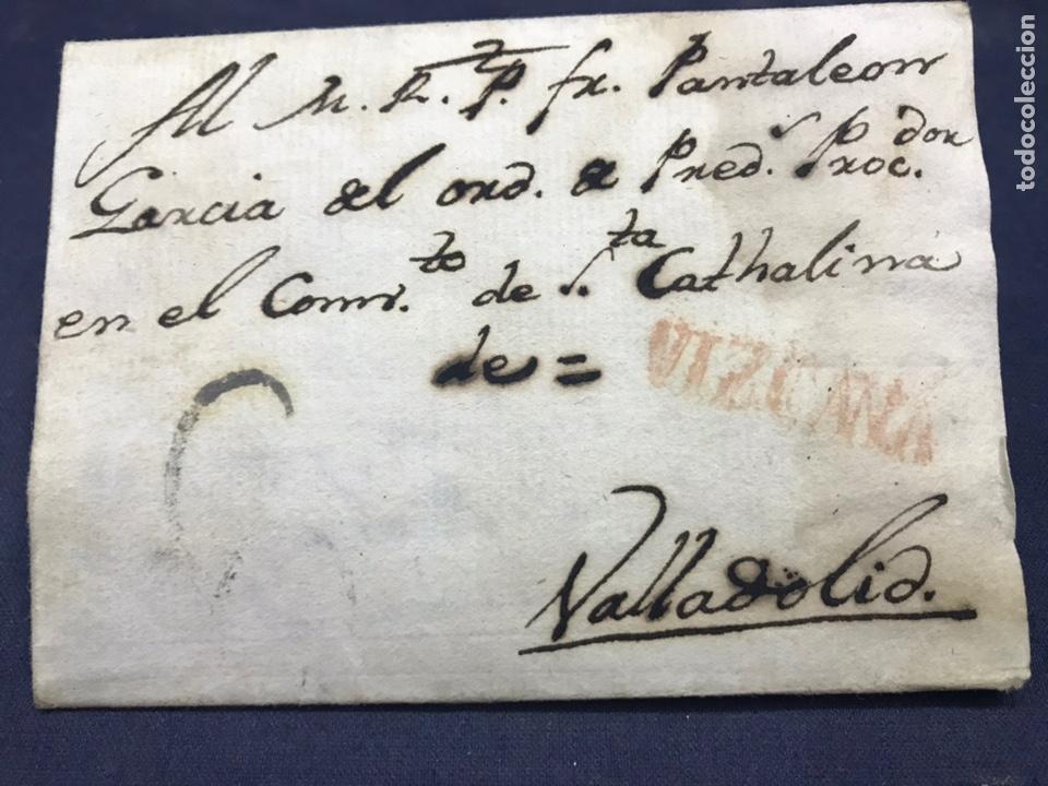 Sellos: 1803. SAN SEBASTIÁN A VALLADOLID. VIZCAYA COLOR ROJO. PREFILATELIA. - Foto 2 - 172008097