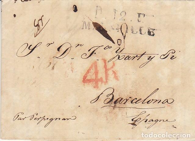 MARSELLA A BARCELONA. 1827. (Filatelia - Sellos - Prefilatelia)