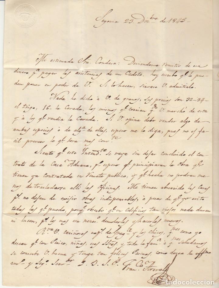Sellos: SEGOVIA a MADRID. 1843. -SRA: CONDESA viuda de los VILLARES- - Foto 2 - 173401834