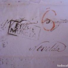 Sellos: 1842.CARTA PREFILATELICA ELCHE/NOVELDA.MARCA EN NEGRO ELCHE/MURCIA Y PORTEO 6 EN ROJO.. Lote 174429104