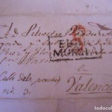 Sellos: 1839.CARTA PREFILATELICA ELCHE/VALENCIA.MARCAS EN NEGRO ELCHE/MURCIA Y PORTEO 8.. Lote 174429360