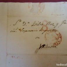 Sellos: 1843.CARTA PREFILATELICA ELCHE/VALENCIA.BAEZA ELCHE/MURCIA Y PORTEO 8 EN ROJO.. Lote 174429549