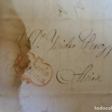 Sellos: 1835.CARTA PREFILATELICA ORIHUELA/ALCIRA.MARCA EN ROJO ORIHUELA DE MURCIA.. Lote 174429665