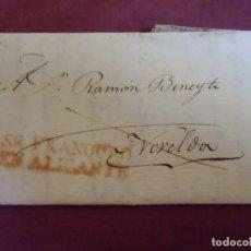 Sellos: 1830.CARTA PREFILATELICA ALICANTE/NOVELDA.MARCA EN ROJO SE FRANQUEO EN ALICANTE.RARA.. Lote 174429782