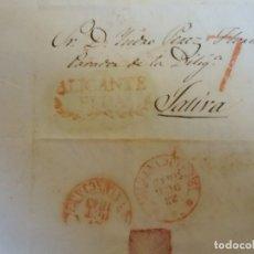 Sellos: 1843.CARTA PREFILATELICA MONOVAR ALICANTE/JATIVA.MARCAS EN ROJO ALICANTE/ELDA Y PORTEO 7.. Lote 174429842