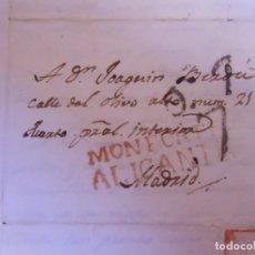 Sellos: 1825.CARTA PREFILATELICA NOVELDA/MADRID.MARCAS EN ROJO MONFORTE/ALICANTE Y PORTEO 7 EN NEGRO.. Lote 174429918