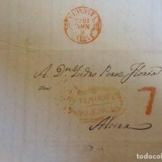 Sellos: 1843.CARTA PREFILATELICA ONTENIENTE/ALCIRA.MARCAS EN ROJO ONTENIENTE/VALENCIA,PORTEO 7, BAEZA JATIVA. Lote 174430528