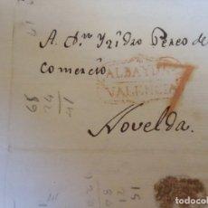 Sellos: 1835.CARTA PREFILATELICA ALBAYDA/NOVELDA.MARCAS EN ROJO ALBAYDA/VALENCIA Y PORTEO 7.. Lote 174431229