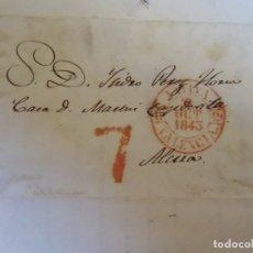 Sellos: 1843.CARTA PREFILATELICA JATIVA/ALCIRA.MARCAS EN ROJO PORTEO 7 Y BAEZA JATIVA.. Lote 174431613