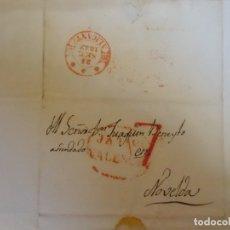 Sellos: 1842.CARTA PREFILATELICA MOGENTE/NOVELDA.MARCAS EN ROJO JATIVA/VALENCIA,PORTEO 7,Y BAEZA ALICANTE. Lote 174431718
