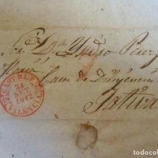 Sellos: 1842.CARTA PREFILATELICA CASTELLON DE LA PLANA/JATIVA.MARCAS EN ROJO PORTEO 7,YBAEZA CASTELLON D.L.P. Lote 174431815