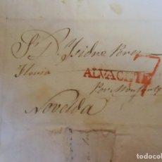 Sellos: 1838.CARTA PREFILATELICA CHINCHILLA/NOVELDA.MARCAS EN ROJO ALVACETE Y PORTEO7.MEMBRETE POLITICO RARO. Lote 174431977