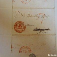 Sellos: 1843.CARTA PREFILATELICA ALBACETE/ALCIRA.MARCAS EN ROJO PORTEO 7 Y BAEZA ALBACETE/CUENCA Y ALICANTE. Lote 174432280