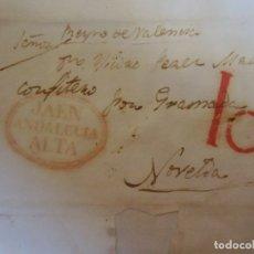 Sellos: 1836.CARTA PREFILATELICA JAEN/NOVELDA.MARCAS EN ROJO JAEN/ANDALUCIA ALTA Y PORTEO 10.. Lote 174432483