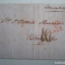 Sellos: CARTA COMPLETA AÑO 1839 BILBAO TRUJILLO MARCA PREFILATÉLICA Y PORTEO. Lote 174580473
