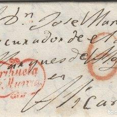 Sellos: MURCIA- ORIHUELA / ALICANTE AÑO 1839 -- ENVUELTA DE CARTA PREFILATELIA D.P Nº 21. Lote 175443563