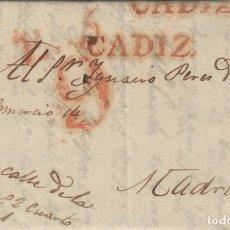 Sellos: CADIZ / MADRID . AÑO 1834 - CARTA PREFILATELIA D.P Nº 26. Lote 175485938