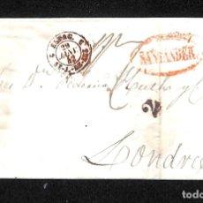 Selos: CARTA SANTANDER A LONDRES, MARCA *M. SANTANDER*, 25 ENERO 1842. Lote 177315090